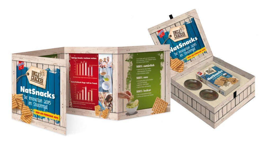 KloseDetering Werbeagentur Uncle Cracker NatSnacks Salesbox und Folder