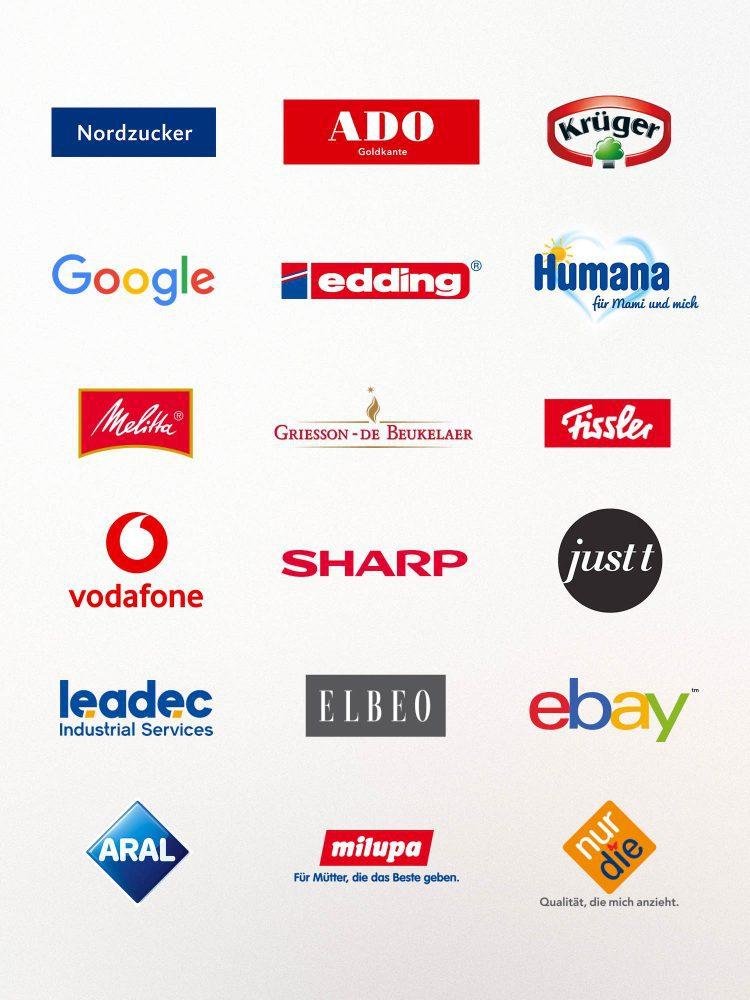 KloseDetering Werbeagentur Übersicht der Kundenlogos